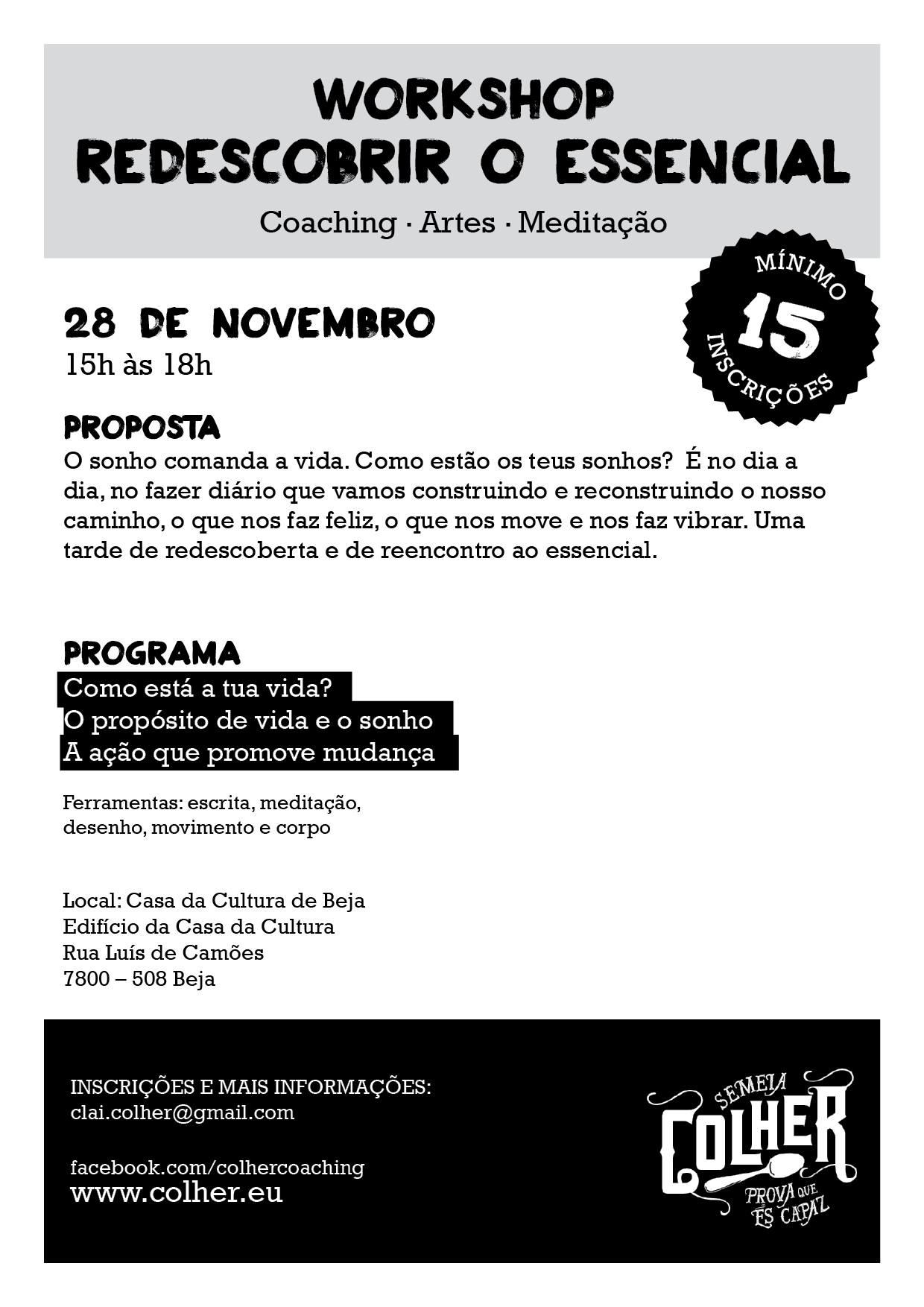 Workshop: Redescobrir o essencial_ 28novembro_Beja