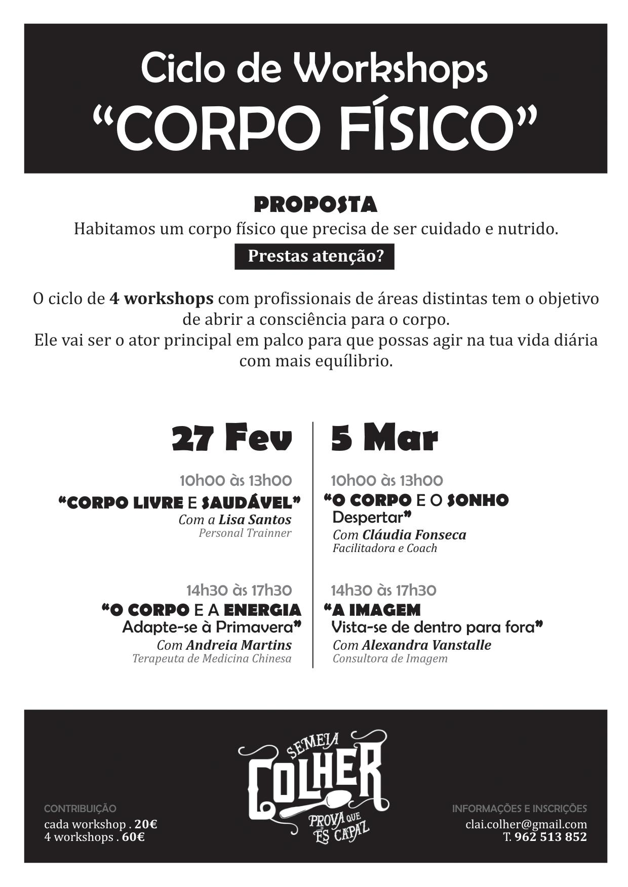 Agenda: Ciclo de workshops – corpo físico_ 27 fev e 5 mar